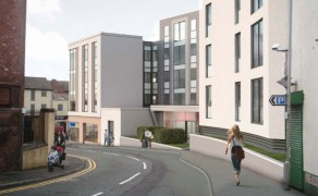 View down Great Shaw Street showing artists impression of Friargate Court