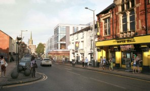 The artists impression shows the student halls and potential retail units superimposed on to Friargate