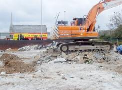 Workmen on the now mothballed Bow Lane site