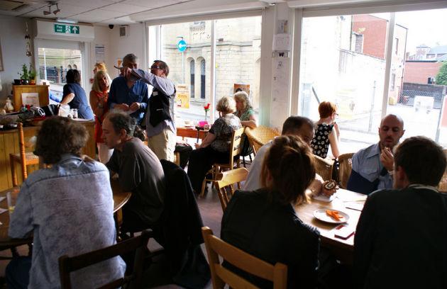 Crowds inside the Korova Cafe