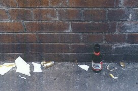 Police photo of smashed bottles near Friargate newsagent