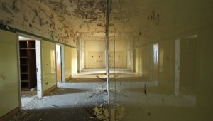 The walls inside the former orphanage