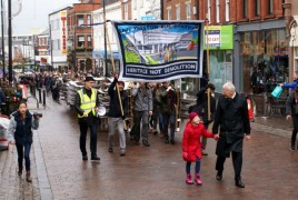 Campaigners heading up Friargate led by John Wilson. Image by Bernie Blackburn.