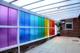 Rainbow passageway in the Space Centre
