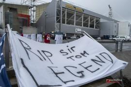 Tribute to footballing legend Sir Tom Finney at Preston's Deepdale stadium.