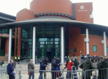 Media outside Preston Crown Court which has been used for a number of high profile court cases in recent months
