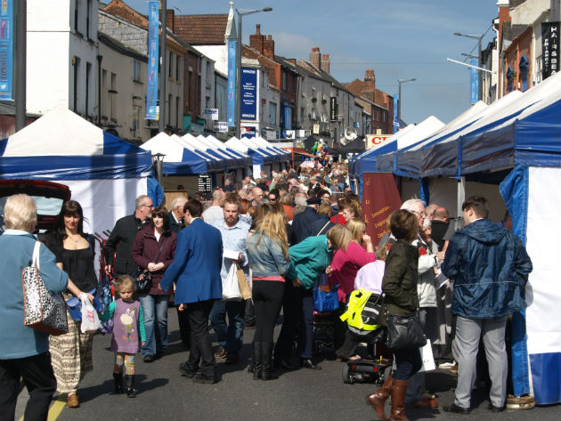 Crowds filling the Lancashire Market on Friargate