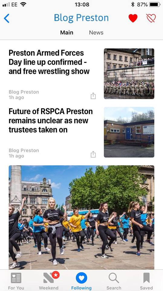 How Blog Preston looks in Apple News
