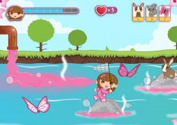 The Habitat Hazard level of the game featuring colourful characters
