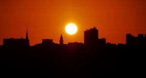 The sun sets over Preston