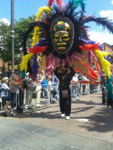 Giant mask and colours Pic: Sarah Massey