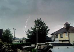 Lightning strikes over Preston
