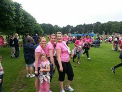 Jayne, Rachel and Dawn complete the race