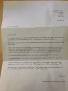 Letter written to the Ted Carter shop