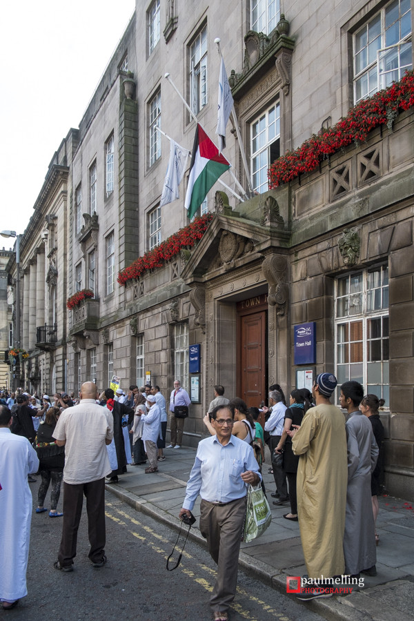 The Palestinian Flag flying above the Town Hall entrance on Friday 25 July