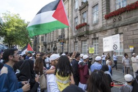 Crowds gathered on Lancaster Road to see the Palestinian flag raised