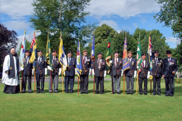 Steve with his fellow Standard Bearers during a VJ day anniversary meeting in Preston.                                       On the far left is Fr. Timothy Lipscomb and on the far right is Colonel Bernard Stam