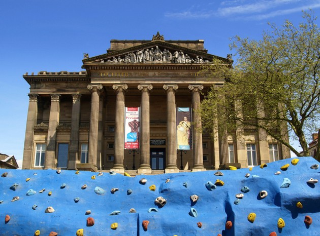 Climbing wall outside the Flag Market. Pic: Tony Worrall