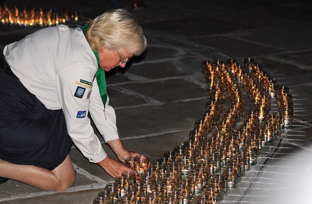 Candles being laid at the War Memorial