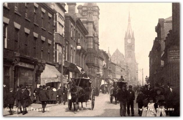 Fishergate, Preston. Sepia postcard. Winter Photo (Arthur Winter)