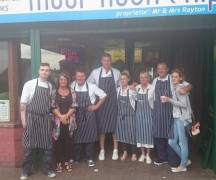 Freddie with the Moor Nook Chippy team