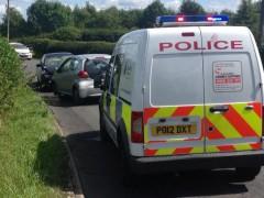 Police car at the scene of the crash. Pic: Preston Rural Police