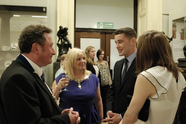 Mayor and Mayoress of Preston, Nick and Barbara Pomfret take time to chat with sporting heros Scott and Stephanie