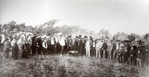 Sod cutting ceremony on what was formerly Preston Moor in 1862