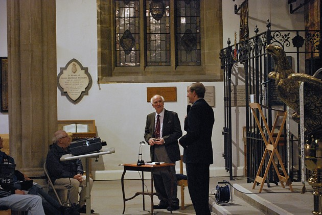 Speaker and renowned local historian, Stephen Sartin in the centre of the photo with David Hindle, Preston Historical Society president to the right