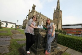 Dr Helen Day and Elsa Carron at where the tour begins