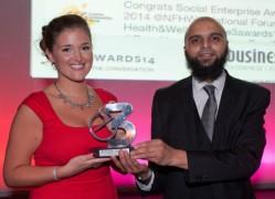 Hannah Warren who won entrepreneur of the year with E3 founder Mubarak Chati,