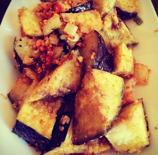 Deep fried aubergines