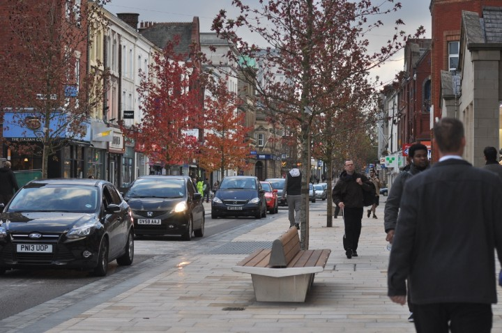 Easterly view of the completed new look Fishergate with it's 'shared space' highway