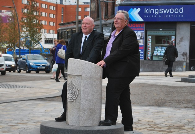 County Councillor John Fillis and Councillor John Swindells seen here testing out the new shared space of Fishergate