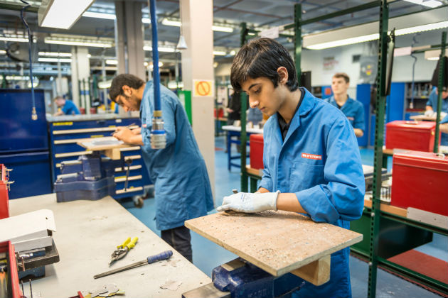 Apprentices hard at work in the Marsh Lane training school