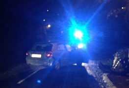Police investigate the vehicle on Tuesday night