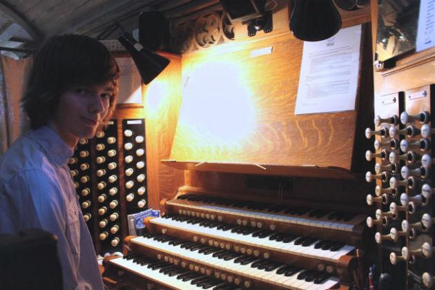 Kirkham grammar pupil Clark at the organ