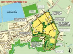 Leaflet sent out by Gladman Homes includes a diagram showing the development