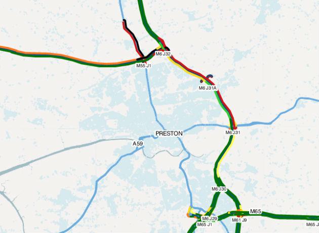 The M6 area of Preston around 5.20pm on Wednesday