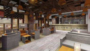 Architect drawing showing inside the new restaurant