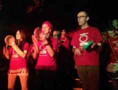Samba drummers at the Adelphi Pic: Tarquin Scott