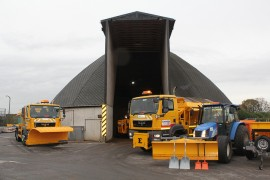 Gritting lorries at the Cuerden depot