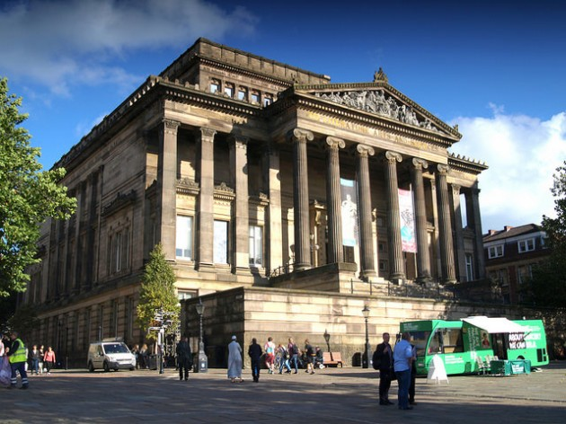 Harris Museum and Art Gallery faces onto the Flag Market