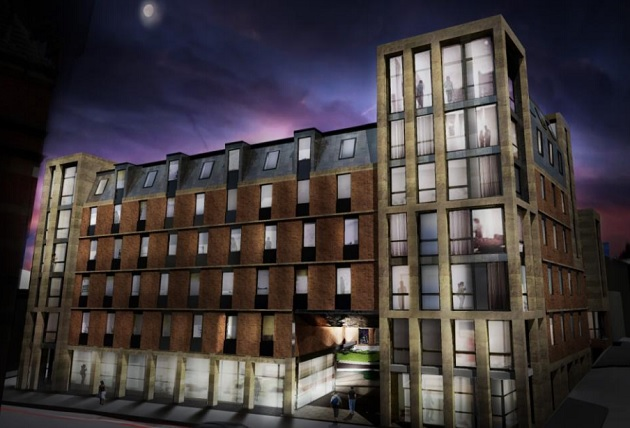 An artist impression of how the new Corporation Street flats would look at night