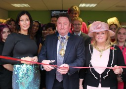 Davinia Mape with the Mayor and Mayoress at the opening of Elements