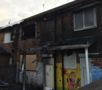 Major damage has been caused to the rear of the community centre