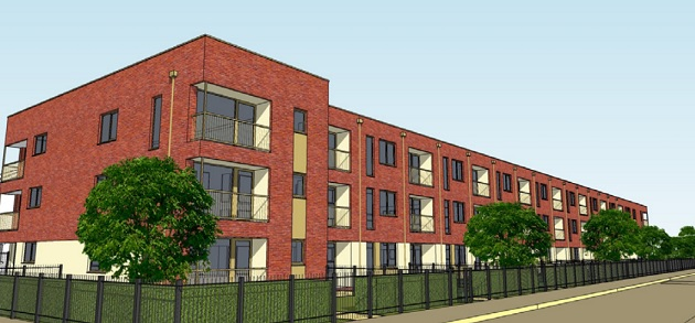 Artist impression of new apartment block on Tetrad factory site