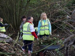 Volunteers at the walled garden extension construction site