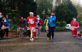 Ben, in blue, makes his way through Avenham Park