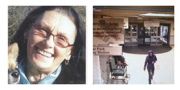 Left: Elaine Mansfield Right: Last known sighting of Elaine